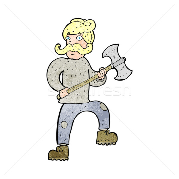 Stock photo: cartoon man with axe