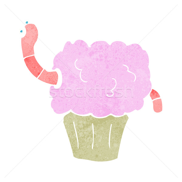 cartoon worm in cupcake Stock photo © lineartestpilot