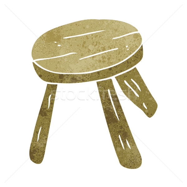 Stock photo: cartoon wooden stool