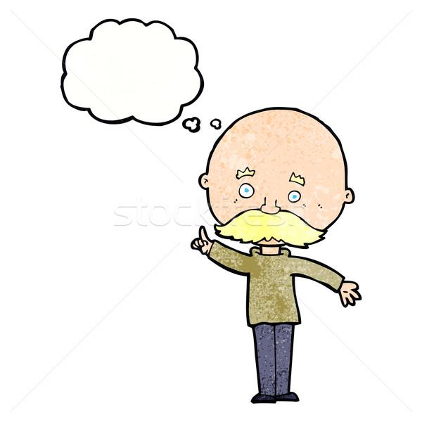 Karikatür kel adam fikir düşünce balonu el Stok fotoğraf © lineartestpilot
