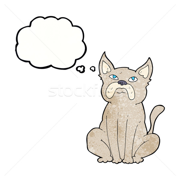cartoon grumpy little dog with thought bubble Stock photo © lineartestpilot