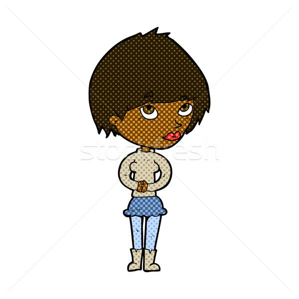 Cômico desenho animado nervoso mulher retro Foto stock © lineartestpilot