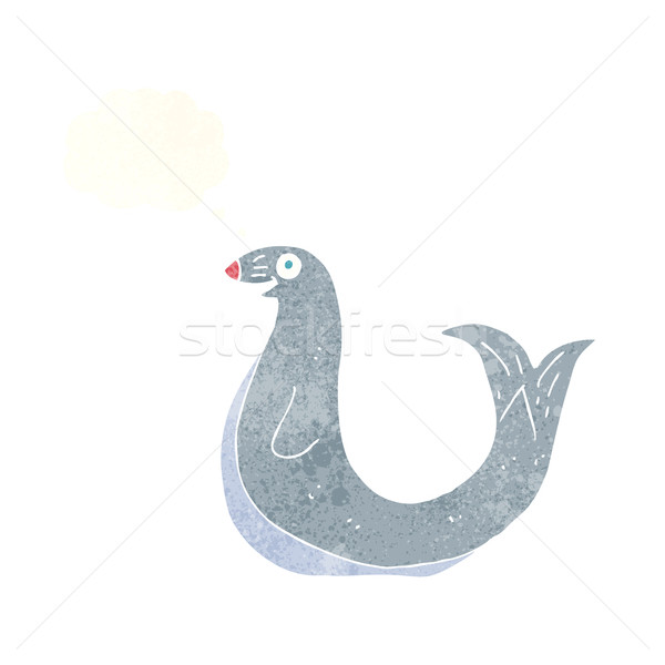 cartoon happy seal with thought bubble Stock photo © lineartestpilot