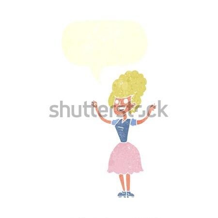 Cartoon szczęśliwy 1950 kobieta bubble myśl strony Zdjęcia stock © lineartestpilot
