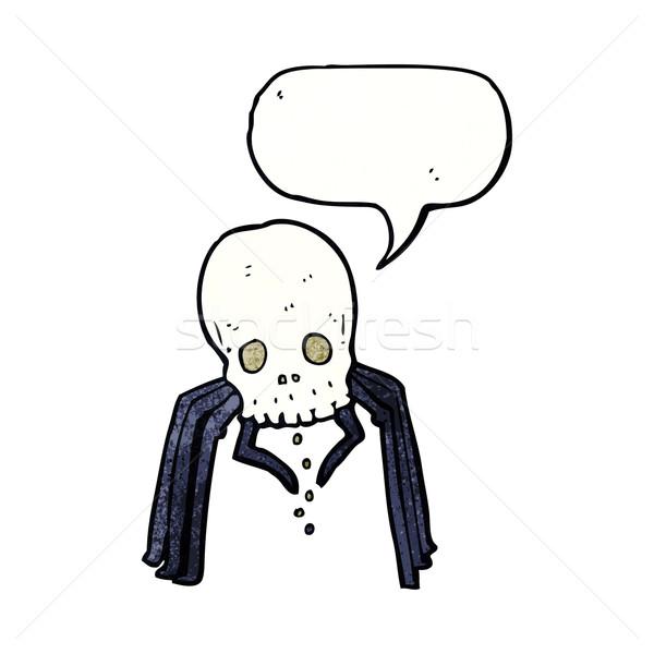 cartoon spooky skull spider with speech bubble Stock photo © lineartestpilot