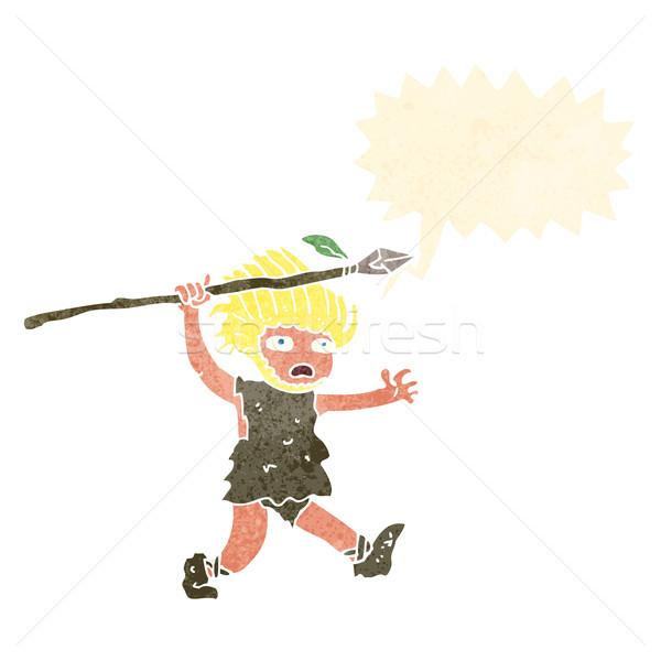 cartoon caveman with speech bubble Stock photo © lineartestpilot