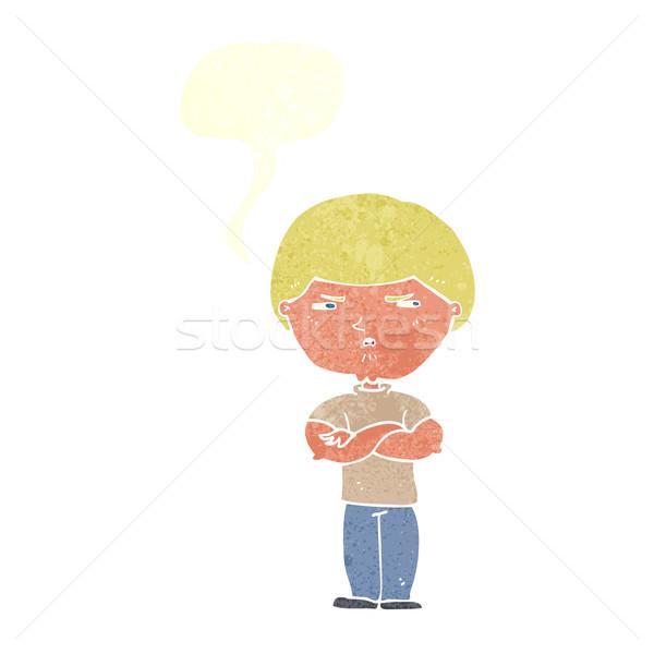 Desenho animado ranzinza homem balão de fala mão projeto Foto stock © lineartestpilot