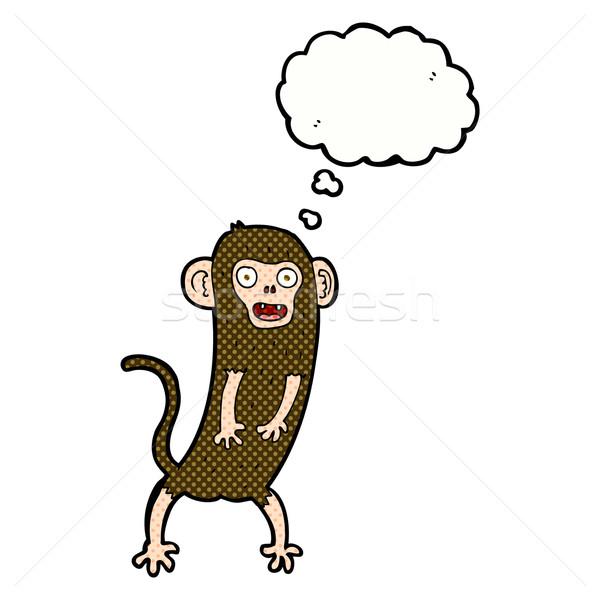 Cartoon Crazy обезьяны мысли пузырь стороны дизайна Сток-фото © lineartestpilot
