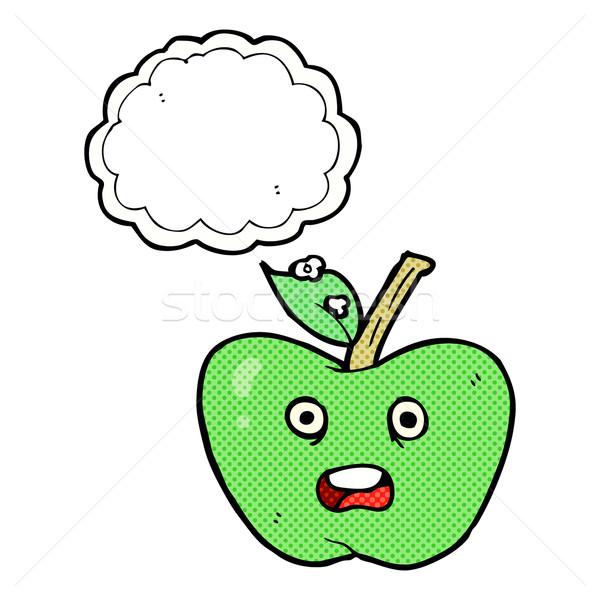 Cartoon mela bolla di pensiero mano design frutta Foto d'archivio © lineartestpilot