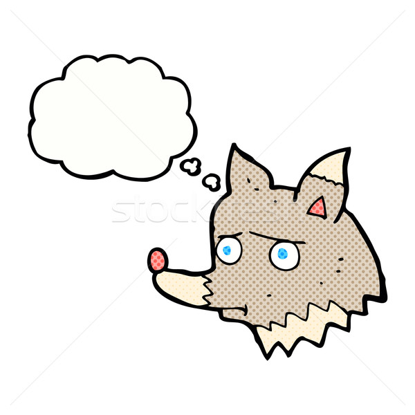 Karikatür mutsuz kurt düşünce balonu el köpek Stok fotoğraf © lineartestpilot