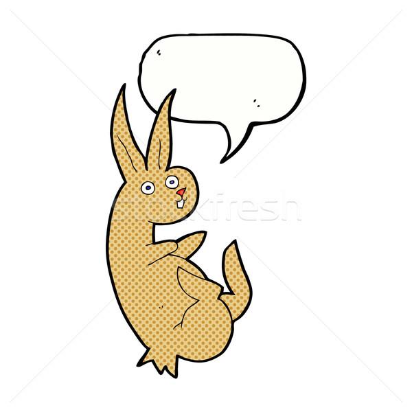 Cartoon konijn tekstballon hand ontwerp bunny Stockfoto © lineartestpilot