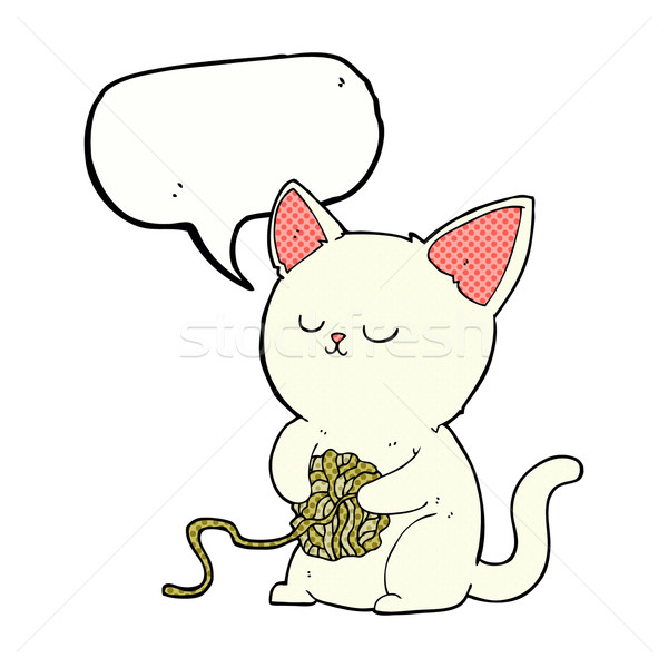 cartoon cat playing with ball of yarn with speech bubble Stock photo © lineartestpilot