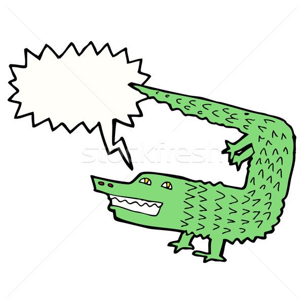 Cartoon cocodrilo bocadillo mano diseno arte Foto stock © lineartestpilot