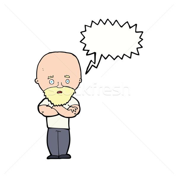 Cartoon conmocionado calvo hombre barba bocadillo Foto stock © lineartestpilot