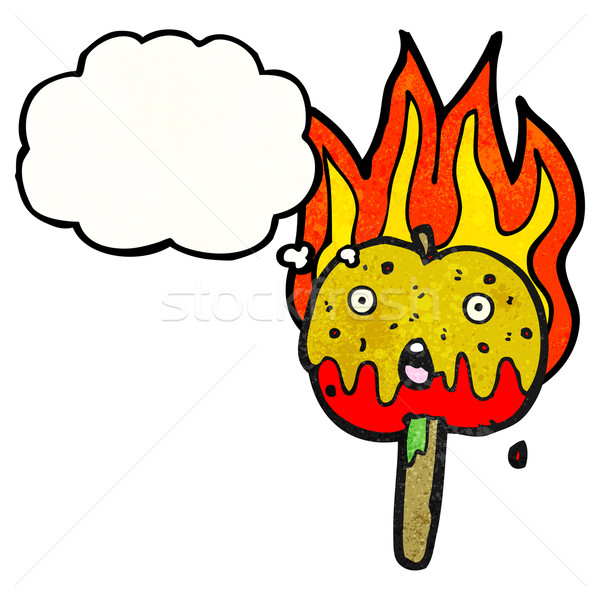 flaming hot toffee apple cartoon Stock photo © lineartestpilot