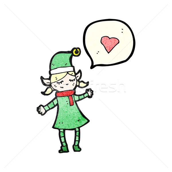 Natale elf ragazza cartoon retro femminile Foto d'archivio © lineartestpilot