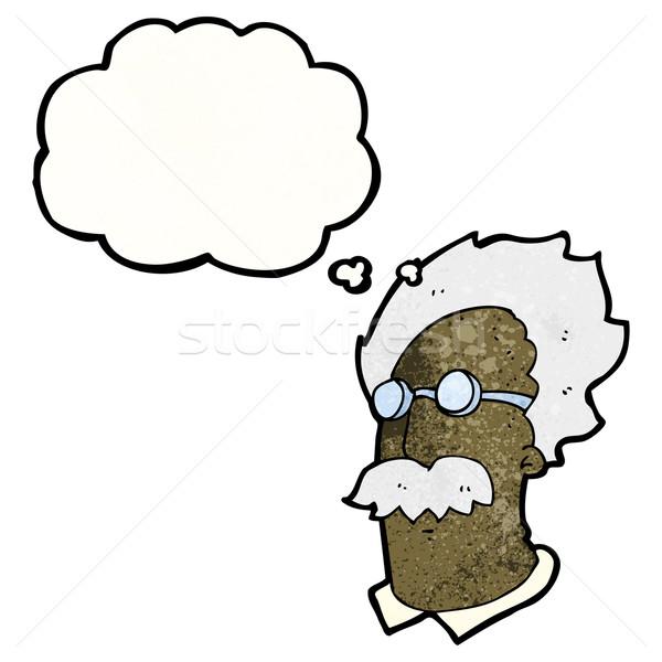 Cartoon genie wetenschapper retro tekening idee Stockfoto © lineartestpilot