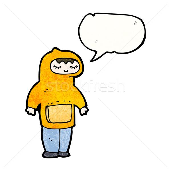 Rajz fiú kapucnis pulóver retro rajz Stock fotó © lineartestpilot