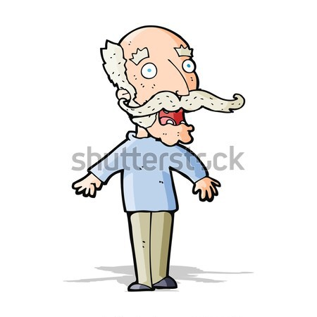 cartoon old man gasping in surprise Stock photo © lineartestpilot