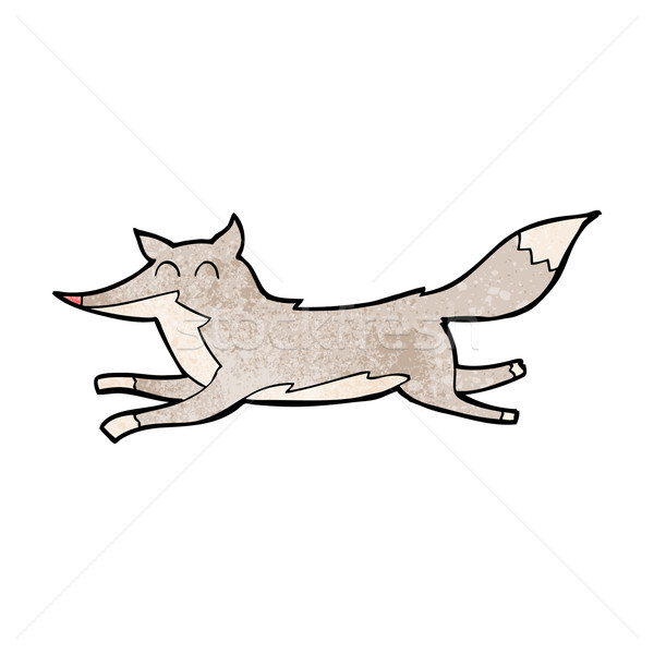 Stock photo: cartoon running wolf