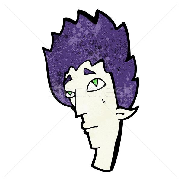 Desenho animado vampiro cabeça mão projeto louco Foto stock © lineartestpilot