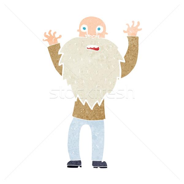 Cartoon asustado viejo barba mano hombre Foto stock © lineartestpilot