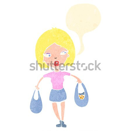 cartoon shy woman Stock photo © lineartestpilot
