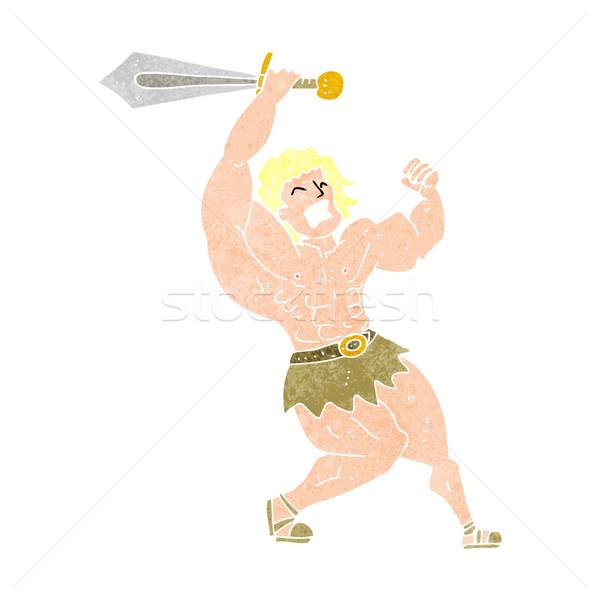 Stock photo: cartoon barbarian hero