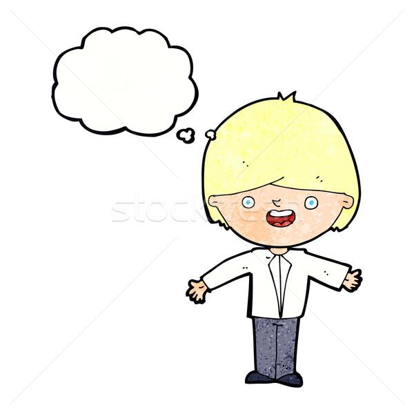 Desenho animado abrir brasão balão de pensamento mão Foto stock © lineartestpilot