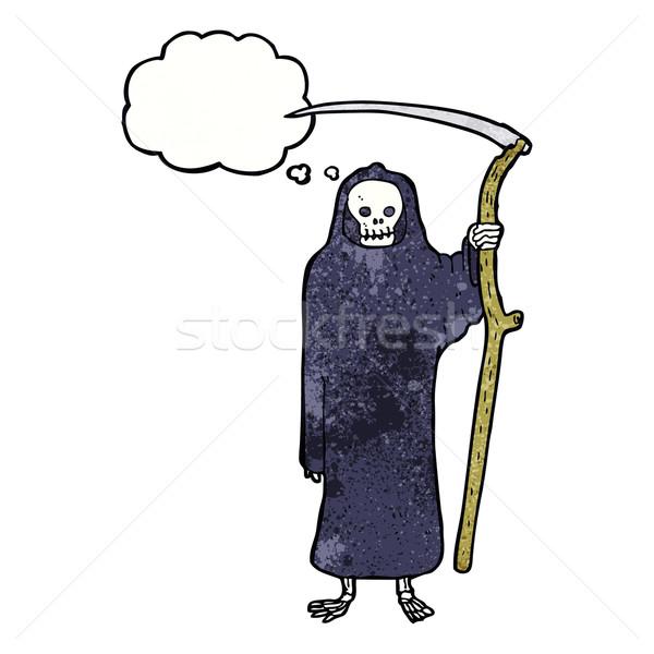 Morte desenho animado balão de pensamento mão projeto louco Foto stock © lineartestpilot