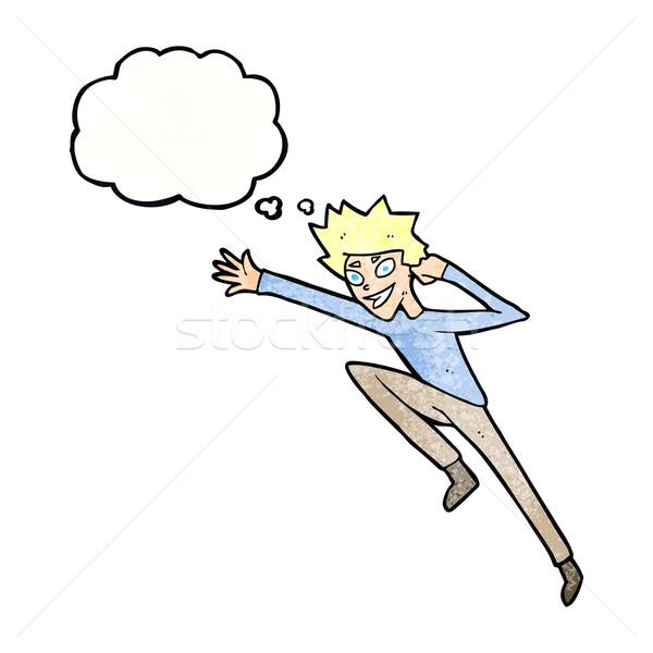 Cartoon прыжки человека мысли пузырь стороны дизайна Сток-фото © lineartestpilot