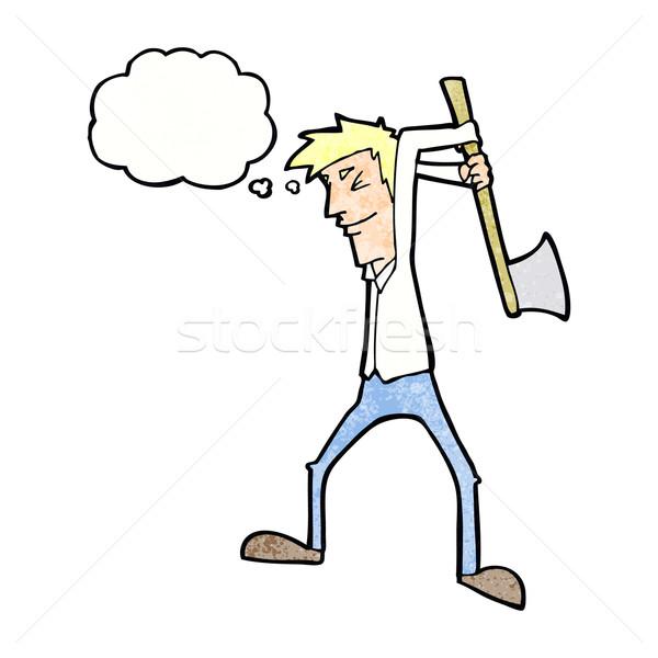 Desenho animado homem machado balão de pensamento escritório mão Foto stock © lineartestpilot