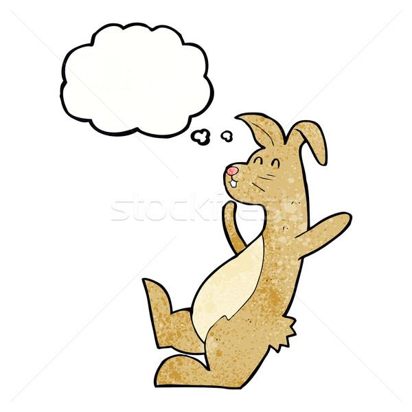 Cartoon haas gedachte bel hand ontwerp haren Stockfoto © lineartestpilot