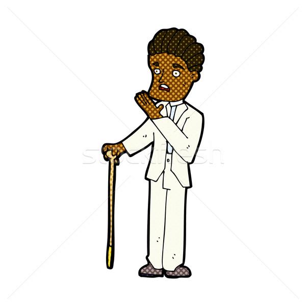 Komische cartoon geschokt gentleman retro Stockfoto © lineartestpilot