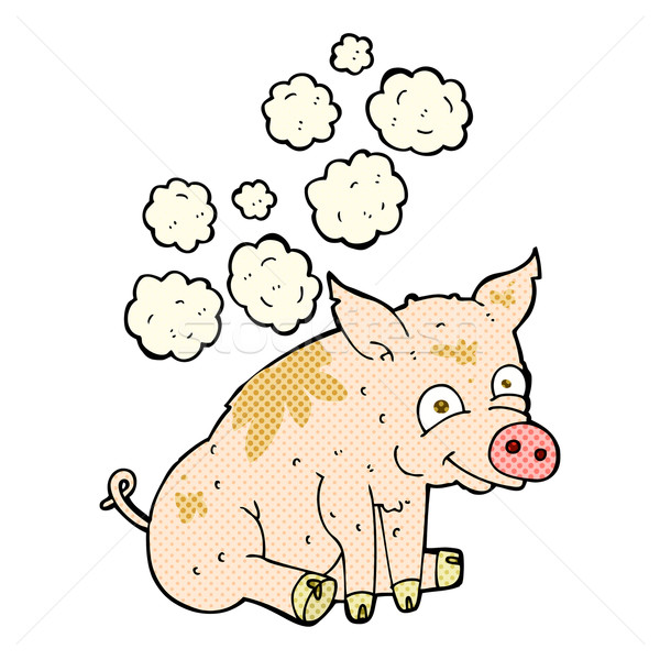 comic cartoon smelly pig Stock photo © lineartestpilot