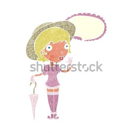 Cartoon conmocionado mujer burbuja de pensamiento mano diseno Foto stock © lineartestpilot