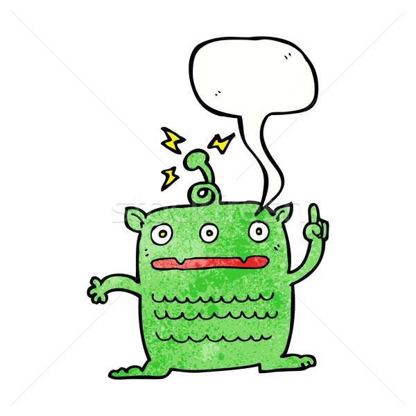 Cartoon weird weinig vreemdeling tekstballon hand Stockfoto © lineartestpilot