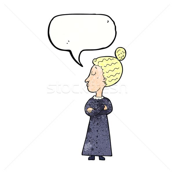 cartoon strict victorian teacher with speech bubble Stock photo © lineartestpilot