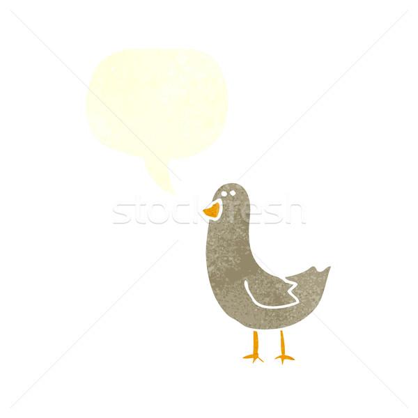 Cartoon vogel tekstballon hand ontwerp kunst Stockfoto © lineartestpilot