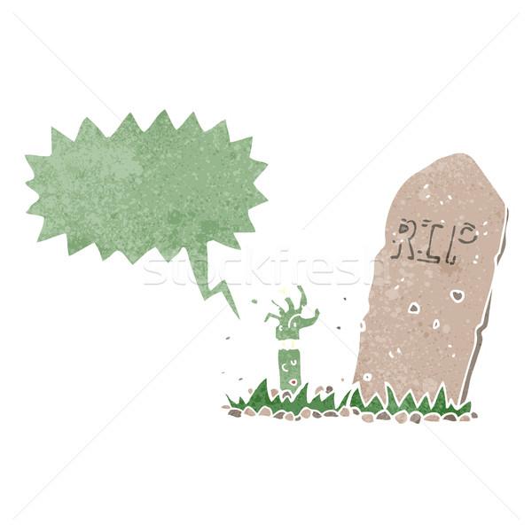 Karikatür zombi mezar konuşma balonu el Stok fotoğraf © lineartestpilot