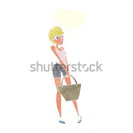cartoon woman striking pose with speech bubble Stock photo © lineartestpilot