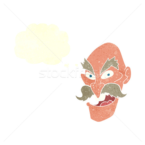 cartoon evil old man face with speech bubble Stock photo © lineartestpilot