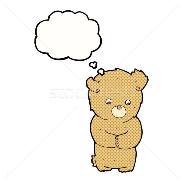 Cartoon verlegen teddybeer gedachte bel hand ontwerp Stockfoto © lineartestpilot