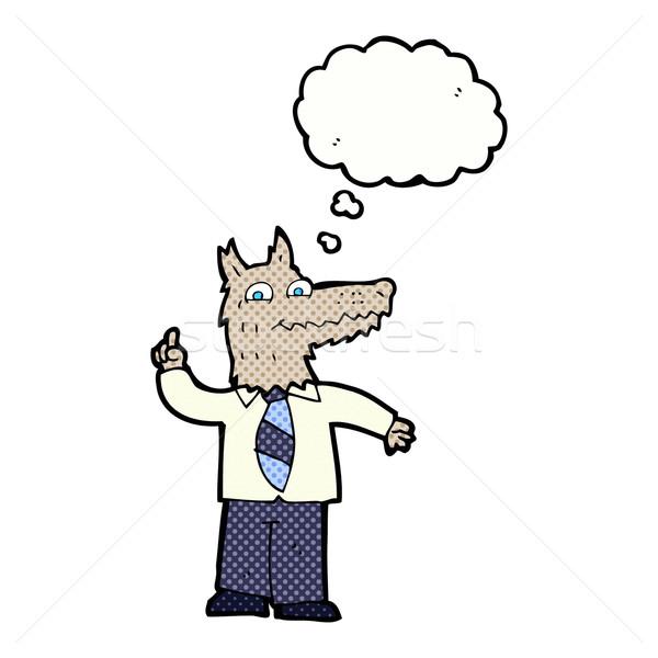 Karikatür iş kurt fikir düşünce balonu el Stok fotoğraf © lineartestpilot