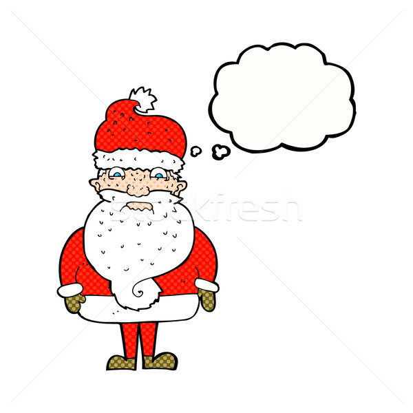 cartoon grumpy santa claus with thought bubble Stock photo © lineartestpilot