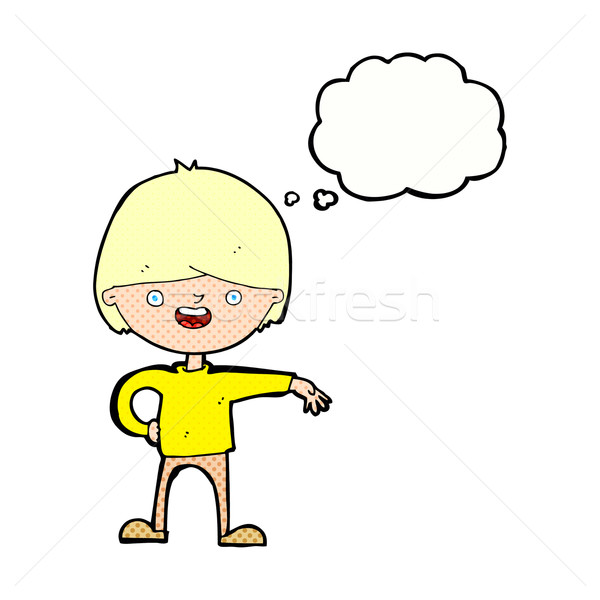 Desenho animado feliz homem balão de pensamento mão projeto Foto stock © lineartestpilot