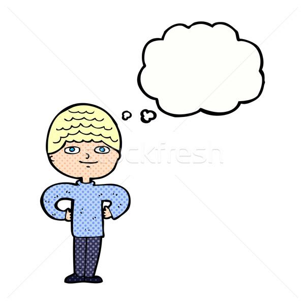 Zdjęcia stock: Cartoon · dumny · człowiek · bubble · myśl · ręce · strony