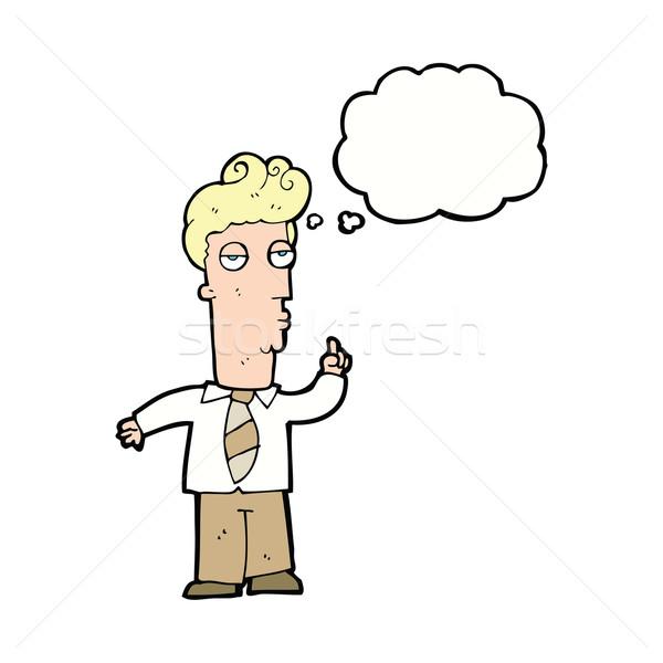 Desenho animado entediado homem pergunta balão de pensamento Foto stock © lineartestpilot
