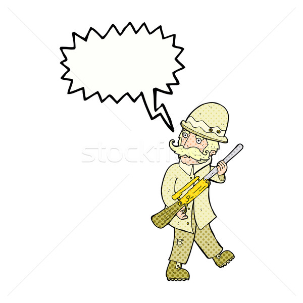 cartoon big game hunter with speech bubble Stock photo © lineartestpilot