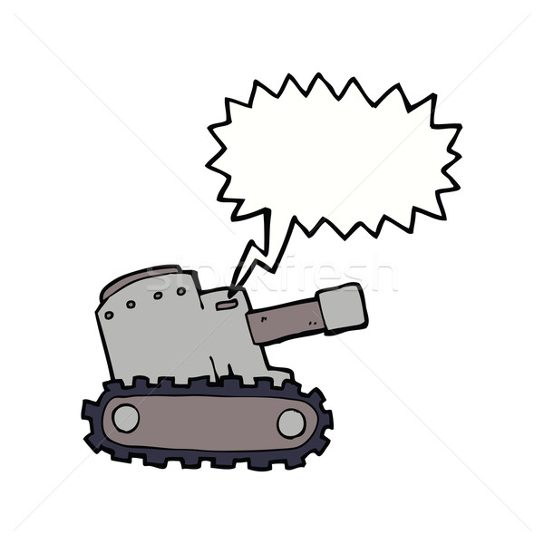 cartoon army tank with speech bubble Stock photo © lineartestpilot